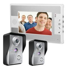 ENNIO SY813MKW21 7inch TFT LCD Video Door Phone Doorbell Intercom Kit 2 Night Vision Cameras Monitor