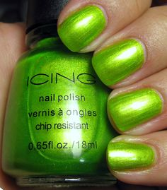 I might have to invest in this color. I have a lime green similar to this, but it doesn't have the shimmer this one does. Shades Of Gold, Shades Of Green, Cosmetic Items, Cool Tones, Green Hair, My Favorite Color, Cute Nails, Hair And Nails, Green Colors