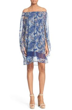 Alice + Olivia 'Cari' Paisley Print Off the Shoulder Dress available at #Nordstrom