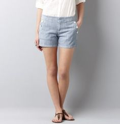 Shop our new arrivals at LOFT & find fashion with love—feminine, versatile & affordable women's clothing: new tops, new dresses, pants, accessories & more. Nautical Shorts, Sophisticated Outfits, Vintage Nautical, Blue Stripes, New Dress, Casual Shorts, Denim, Clothes For Women, Stylish