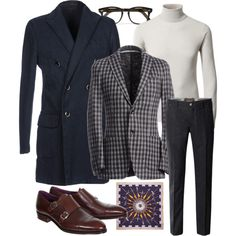 Overcoat: L.B.M 1911 Sport Coat: Tombolini Rollneck: von Braun  Trousers: Jacob Cohen Double monks: Carmina  PS: Rubinacci Glasses: Cutler&G...