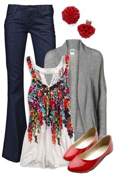 """Teacher, Teacher 146"" by qtpiekelso on Polyvore I'm a big fan of the cardigan or open sweater as a third piece. Depending where you live, they can play a role in your wardrobe most of the year. But this tank with floral red pattern takes the cake! Great for spring, summer and fall. Bright, red flats are fun!"