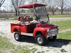Old Chevy Truck Golf Cart !   Me and the hubby are looking for a golf cart to take when we camp.  Would love it to be one of these.XOXO