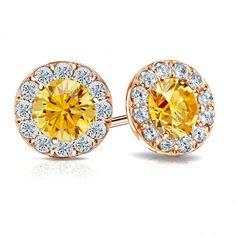 Certified 14k Rose Gold Halo Round Yellow Diamond Stud Earrings 3.00 ct. tw. (Yellow, SI1-SI2)