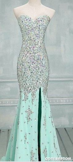 Prom Dress Fitted, High Quality Mermaid Rhinestones Long Prom Dress Sexy Sweetheart Front Split Mint Chiffon Trumpet Prom Dresses There are delicate lace prom dresses with sleeves, dazzling sequin ball gowns, and opulently beaded mermaid dresses. Mint Prom Dresses, Grad Dresses, Mermaid Prom Dresses, Homecoming Dresses, Bridesmaid Dresses, Dress Prom, Prom Gowns, Dresses 2016, Wedding Dresses