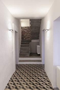 floor tile, brick wall and concrete stairs – Home Decor Floor Design, Tile Design, White Wood Kitchens, Concrete Stairs, Interior Architecture, Interior Design, Types Of Flooring, Flooring Ideas, Floor Patterns