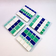 Custom Set of 4 Mosaic Glass Coaster Set - Blue, Teal, and White by LiveInMosaics Mosaic Tray, Mosaic Glass, Mosaic Tiles, White Coasters, Glass Coasters, Mosaic Crafts, Mosaic Projects, Mosaic Designs, Mosaic Patterns