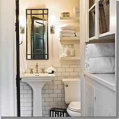 White floating shelves above toilet. White subway tile with gray grout. – Home… White floating shelves above toilet. White subway tile with gray grout. – Home… – most beautiful shelves – Serene Bathroom, White Bathroom, Beautiful Bathrooms, Modern Bathroom, Small Bathroom, Bathroom Shelves, Downstairs Bathroom, Bathroom Storage, Mirror Shelves