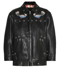 GUCCI Embellished Leather Jacket. #gucci #cloth #jackets