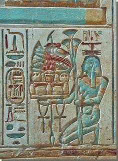 Laag reliëf, afbeelding in de tempel van Ramses II te Abydos.