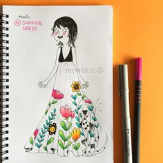 Monila handmade,illustrazione,illustration,summer dress,i ghirigori di Monila,Doodle,