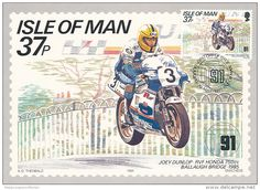 Isle Of Man TT motorbike race postage stamp from 1985 featuring the RVF Honda motorbike Honda 750, Japanese Motorcycle, Postage Stamp Art, Vintage Outfits, Vintage Clothing, Isle Of Man, Ms Gs, Stamp Collecting, Make And Sell