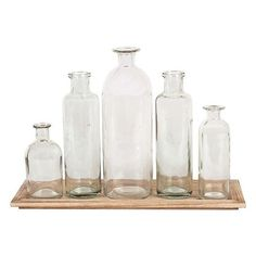 Glass Bottle Vases with Tray Set (35 CAD) ❤ liked on Polyvore featuring home, home decor, vases, square vases, glass tray, square tray, home decorators collection and glass vases