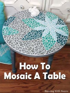 Diy mosaic table - learn how to mosaic a table including how to transfer a design, cut tiles, and mix and apply grout. this complete step by step tutorial Mosaic Tile Table, Mosaic Tile Art, Mosaic Crafts, Mosaic Projects, Mosaics, Mosiac Table Top, Tile Tables, Mosaic Mirrors, Mosaic Outdoor Table
