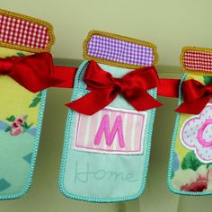 Mason Jar Banner In The Hoop Project Machine Embroidery Design Applique Patterns all done ITH 3 variations in 6 sizes. $4.95, via Etsy.