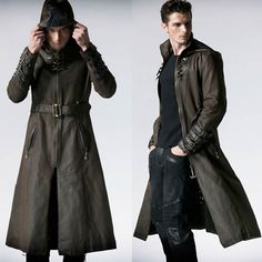 Men Brown Leather Hooded Steampunk Goth Military Trench Coat Overcoat SKU-11401241
