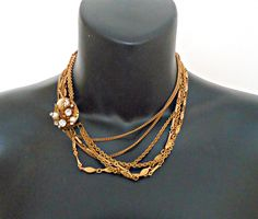 Vintage Choker Gorgeous Faux Bead & Rhinestone Clasp Necklace 1940's by TreasureCoveAlly on Etsy