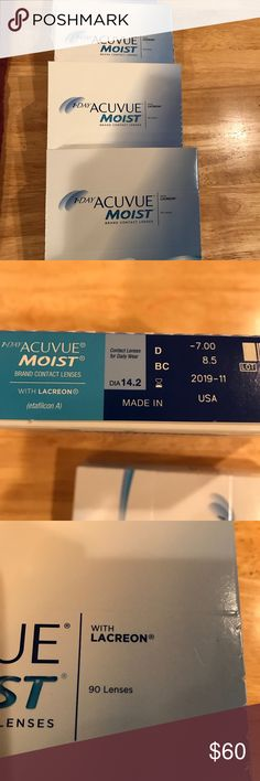 1 DAY ACUVUE MOIST BRAND CONTACT LENSES 1 DAY CLEAR ACUVUE MOIST BRAND CONTACTS WITH LACREON. DIAMETER: 14.2   Power -7.00.  Exp.: 11/2019. Case of 90 never opened.  Had eyes examined this year and my eyesight has improved so these are too strong. Also have a case opened with 31missing. 59 left. Can sell unopened and opened case together or separately. ACUVUE Other
