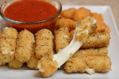 Homemade cheese sticks.  Cheese sticks, bread crumbs, parm cheese, egg & flour.  Baked (not fried)  Will have to try this!