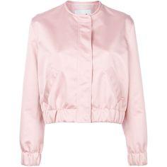MSGM satin bomber jacket (32.520 RUB) ❤ liked on Polyvore featuring outerwear, jackets, satin bomber jackets, pink jacket, standing collar jacket, flight jackets and msgm jacket