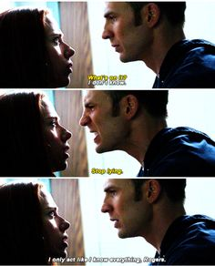 In the last photo he is so done with himself. He is horrified he spoke to a female that way. Gentleman Steve Rogers.