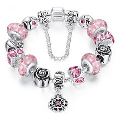 Top Quality 925 Silver Bead Charm Bracelet For Women With Love Safety Chain Fine Jewelry Fit Original Bracelets Pulseras Sterling Silver Bracelets, Bangle Bracelets, Bangles, Silver Necklaces, Girls Jewelry, Fine Jewelry, Fashion Jewelry, Murano Glass, Antique Silver