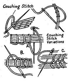 золотые нити couching_stitch