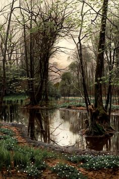 "thrilled-d: ""catonhottinroof: "" Peder Mørk Mønsted (1859-1941) Spring day in the forest with beeches and anemones in bloom, 1903 "" """