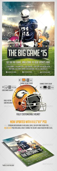 Big Game #Football #Flyer #Template - Sports Events Download here: https://graphicriver.net/item/big-game-football-flyer-template/3769968?ref=alena994