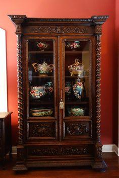 LARGE Antique French Carved Oak Barley Twist Glass Cabinet Bookcase Renaissance #Renaissance
