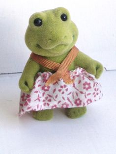 This is a girl frog from the Forest Families toy series made by a German company in the 1980's