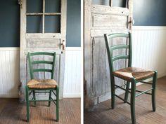 Chair 英国◇ラタン座面のキッチンチェア(緑)/イス/椅子 アンティーク インテリア 雑貨 家具 Antique ¥1000yen 〆12月27日