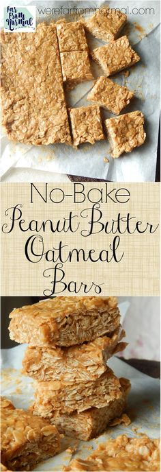 Looking for an easy no-bake treat? These bars are so easy and super tasty! Only … Looking for an easy no-bake treat? These bars are so easy and super tasty! Only a few ingredients you probably have in your pantry right now! Peanut Butter Oatmeal Bars, Peanut Butter Recipes, No Bake Oatmeal Bars, Peanut Butter No Bake, Oatmeal Cupcakes, Breakfast Cupcakes, Oatmeal Muffins, Breakfast Recipes, Dessert Recipes