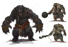 Dungeons and dragons bearman by aikoo king ursalian fantasy Fantasy Races, Fantasy Rpg, Fantasy Artwork, Monster Design, Monster Art, Character Art, Character Concept, Character Design, Creature Feature