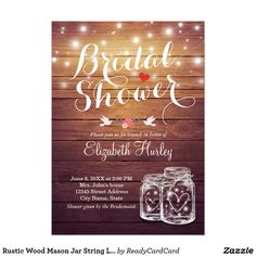 Rustic Wood Mason Jar String Lights Bridal Shower Card