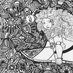 Disney Mandala Coloring Pages Elegant Brave Merida Design Disney Zentangle Cute Coloring Pages, Disney Coloring Pages, Mandala Coloring Pages, Adult Coloring Pages, Coloring For Kids, Coloring Books, Arte Disney, Disney Art, Mandala Art