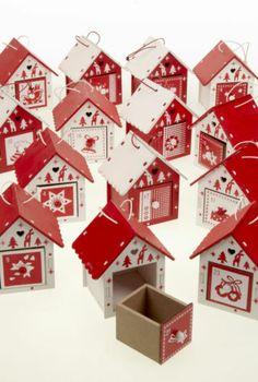 Heaven Sends Wooden Xmas Advent Village Calendar House Birdhouse Red White | eBay