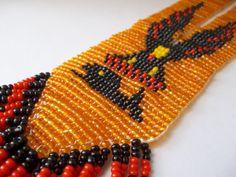 Reserved Jon AMERiCAN WOVEN BEAD THUNDERBiRD & WHALE TRiBAL Necklace/ Orange…