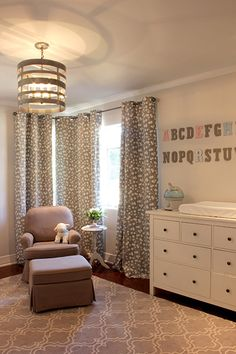Marianne Strong Interiors Gray Nursery- grays, cool light, nice drapes, ABCs on wall