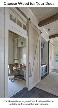 One of the pecky cypress barn door opens to reveal a home office with light gray cabinets suspended over a gray built-in desk with wood top. Barn doors are painted in a custom whitewash stain. ideas Florida Beach House with New Coastal Design Ideas Home Design, Luxury Interior Design, Blog Design, Interior Ideas, Interior Modern, Light Gray Cabinets, Built In Desk, Built Ins, Cool Ideas