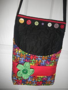 handmade bag in autism awareness print