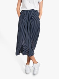 4e09ea0fe00b hush Marina Stripe Midi Skirt, Midnight Blue/White at John Lewis & Partners  Hush