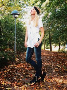 @debshops shops white tee, @debshops shops dark wash skinny jeans, @debshops shops sling back booties, charming damsel black lace headband, marisa diane designs rings, 9th & elm ring, mountain just jewelry angler necklace, lazuli handcrafted beryl necklace, emerson and oliver did bracelets