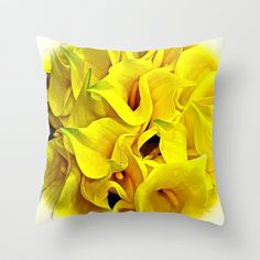 Calla Lilly Yellow Throw Pillow by Saundra Myles - $20.00