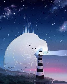 All inspiration in the illustration category Animes Wallpapers, Cute Wallpapers, Pretty Art, Cute Art, Angst Im Dunkeln, Arte Peculiar, Cute Ghost, Anime Scenery, Aesthetic Art
