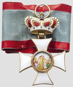 "Order of St.Elisabeth (Bavaria) — Insignia for an Official of the Order. The Master of Ceremonies, the Secretary of the Order, and the Treasurer wore this decoration. The charity scene differs from that on the cross for the ladies of the order. Case inscribed ""Kgl. Bayr. St. Elisabeth-Orden"" (Royal Bavarian Order of St. Elisabeth). Manufacturer's mark in the silk lining ""E. Quellhorst, München"""