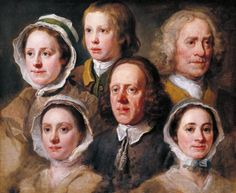 Artwork page for 'Heads of Six of Hogarth's Servants', William Hogarth, c.1750-5 This unusual group portrait originally hung in Hogarth's studio where it must have served as an advertisement for the artist's unrivalled skill in characterisation. The picture consists of a series of unrelated studies. Hogarth has achieved a unified composition through a symmetrical arrangement of the heads and a consistent light source coming from the upper left. Hogarth's decision to paint his own servants…