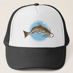 Catfish Trucker Hat - tap to personalize and get yours #TruckerHat  #catfish #mudfish #fish #wolf #barbels Catfish Fishing, Party Hats, Unisex, Wolf, Shopping, Black, North America, Products, Fashion