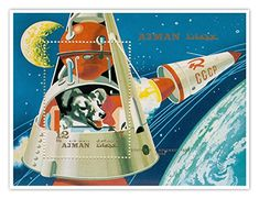 Laika First in Space Poster Handmade Gallery Commemorative Postage Stamp Print Laika Dog, Retro, Vintage Space, Vintage Kids, Vintage Wood, Vintage Images, Space Race, Vintage Scrapbook, Space Program