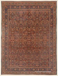 """DABIR KASHAN, 8' 10"""" x 11' 8"""" — Late 19th Century, Central Persian Antique Rug - Claremont Rug Company"""